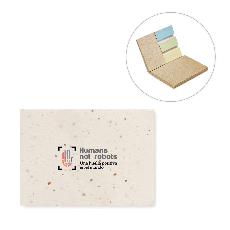 Bloc de notas y stickers de semillas